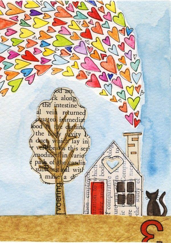 Todo lo que quiero es una vida pequeña  Es lil arte... o ¿es una tarjeta de felicitación? ¡Hola! ¡es ambas!  Es una tarjeta de arte de Lil (la edición de láminas)  Un 3 x 4 de Giclee de mi ilustración collage y gouache original. Cada Lil arte es mate con una alfombra crema 5 x 7 y luego unida a una crema acción doblada para abrir como una tarjeta de felicitación de la tarjeta y viene con un sobre blanco  Todo está sellado con el amor en una funda de celofán biodegradable y naves que en un…