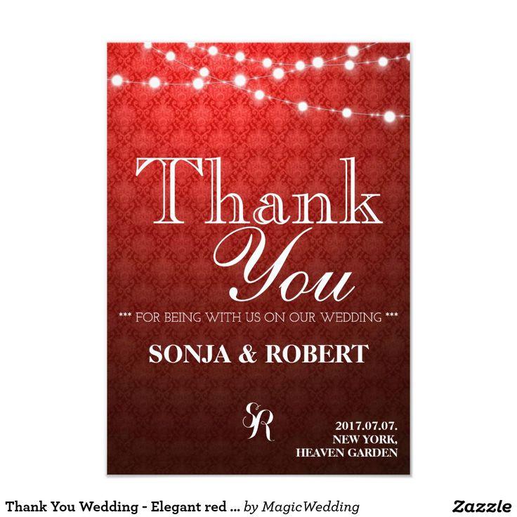 Thank You Wedding - Elegant red damask Card