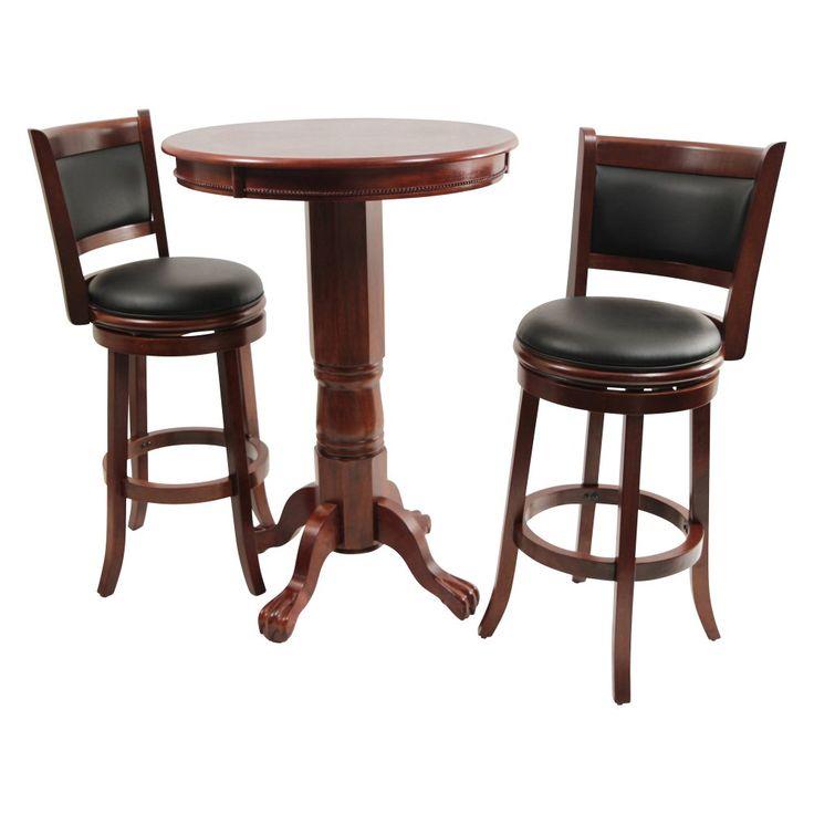 Boraam Augusta 3 Piece Pub Table Set Dark Cherry Tables Sets At
