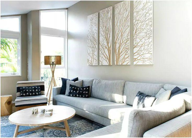 Лаконичная модульная картина в гостиной в стиле модерн