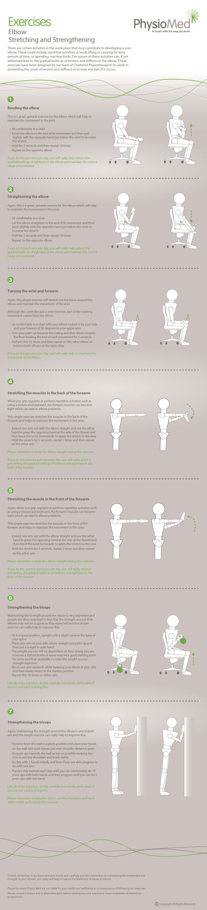 Elbow Stretching and Strengthening Exercises - Occupational Physiotherapy. There are certain activities within the workplace that can contribute to developing a sore elbow. We have developed 7 exercises to help prevent the onset of tension and stiffness in the elbow. For more information please visit http://physiomed.co.uk/exercises/help-give-stiffness-the-elbow