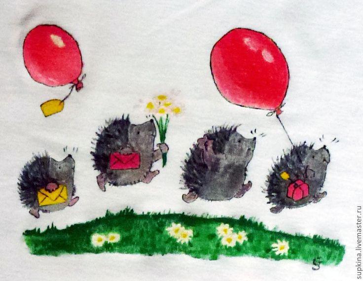 Купить Футболка с надписью на день рождения Ежики - футболка с рисунком, футболка с надписью, футболка на заказ