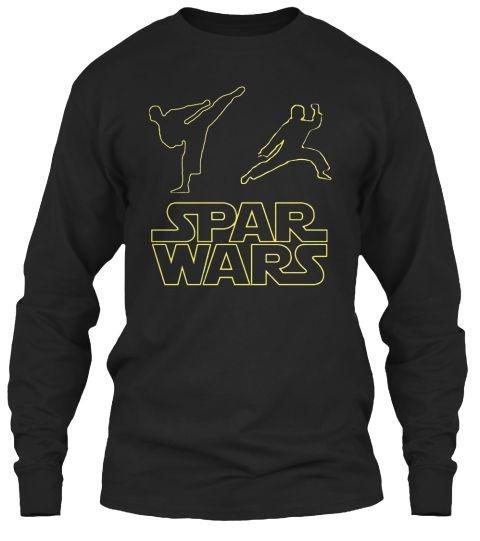 Spar Wars Taekwondo Mma T Shirt Black Long Sleeve T-Shirt Front
