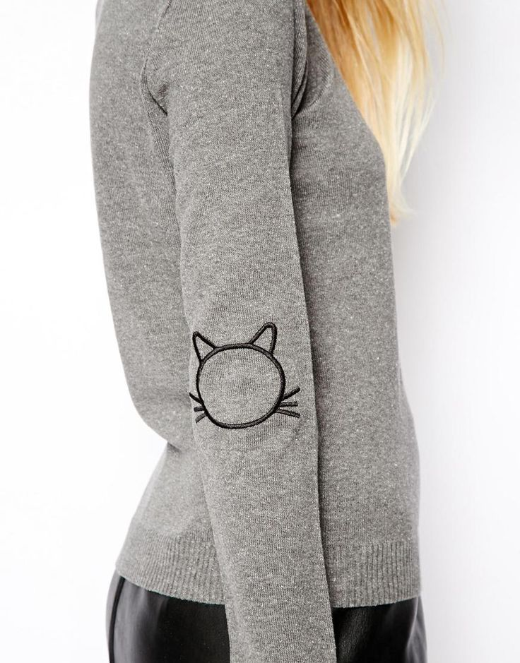 ASOS | ASOS Jumper With Cat Elbow Patches at ASOS