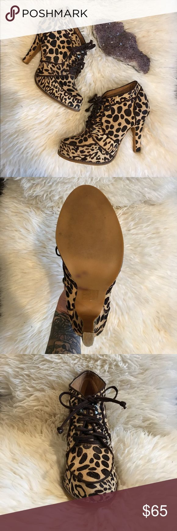"""Gorgeous Deena&Ozzy Leopard Booties Amazing pony hair, high heeled booties in super chic leopard print. 4"""" heel. Barely worn, in great condition. Size 8, true to size.  Brand is Deena&Ozzy, purchased from Urban Outfitters. Deena & Ozzy Shoes Ankle Boots & Booties"""