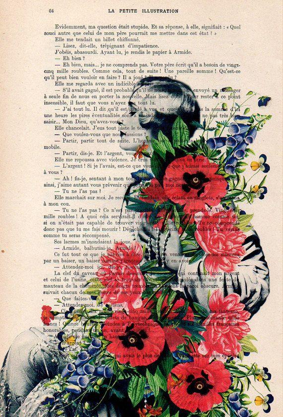 Vrouw met bloemen Originele Print op antieke pagina van 1900. De echte antieke papier, die ik gebruik komt uit de jaren 1900 originele antieke Franse boekenpagina. De pagina is ongeveer 7,5 x 11.4(19 x 29 cm). Elke creatie is uniek, ontvangt u de vergelijkbare afbeelding maar op een andere pagina van het antieke papier met inbegrip van de tekenen van de schoonheid door de tijd (vlekken, hoek bochten, ongelijke prenten, enz.). Uw art print zal worden verpakt in een doorzichtige plastic fol...