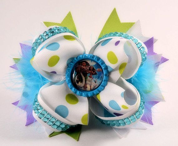 Moana stacked hair bow with feathers  5.5 / Boutique /