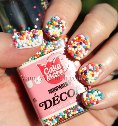 nails with real sprinkles---ADORABLE, especially for a little girl!: Idea, Nail Polish, Style, Nailart, Sprinkles, Beauty, Hair, Nail Art