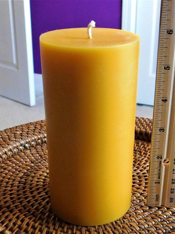 6 Tall 3 Diameter Pure Beeswax Pillar Candle Large Pillar