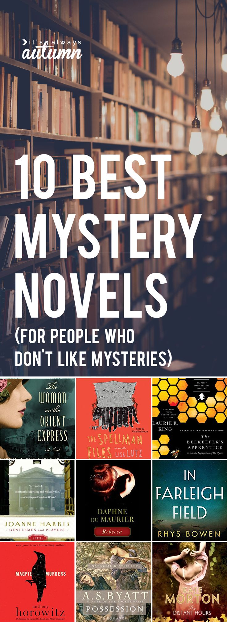 Fantastic list of the best mystery novels that even those who don't like mysteries will love! Book list. #ad