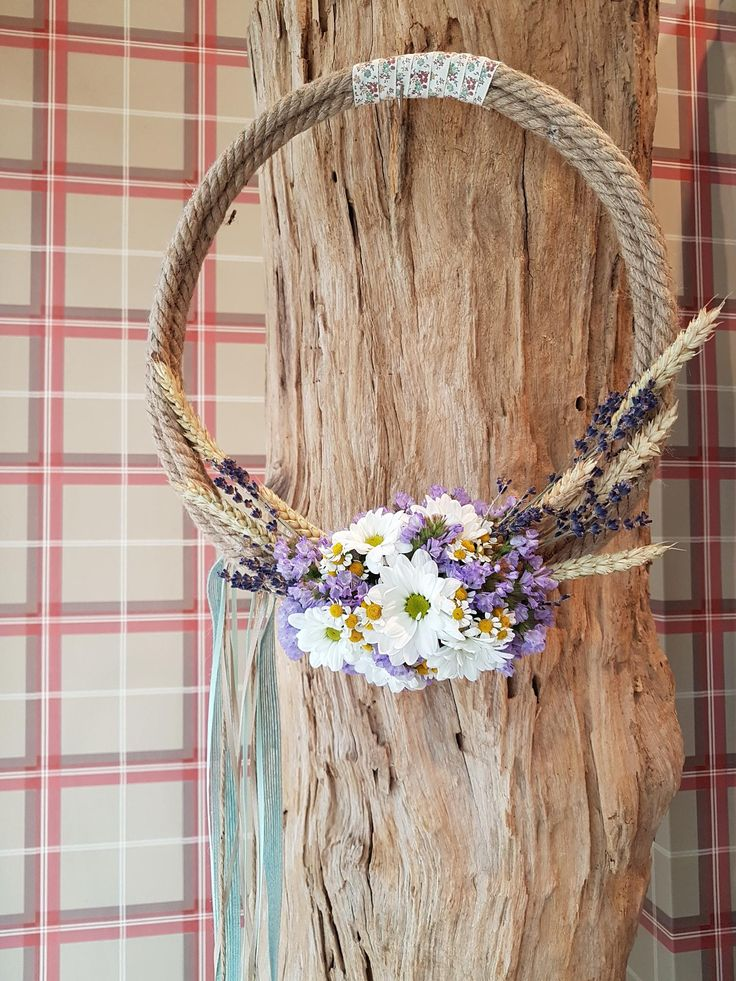 spring wreath with lavender .