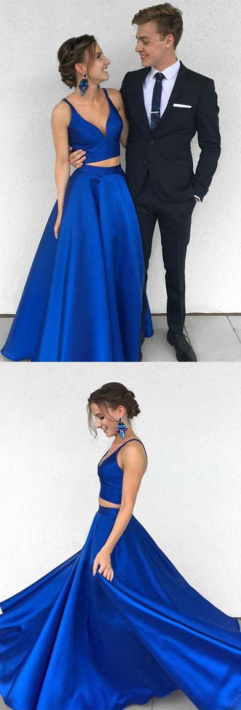 Sexy Royal Blue Two-Piece Long Prom Dress,Simple Satin Blue Formal Evening Dress#prom #promdress #royalblue #long #twopiece #evening #party #okdresses