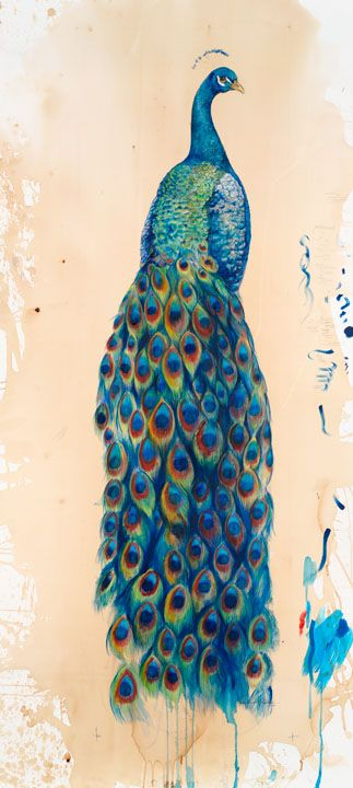 Peacock II  This 5 foot tall mixed media piece was created using watercolor, colored pencil, gold leaf, acrylic paint,  India ink on coffee stained rag paper.