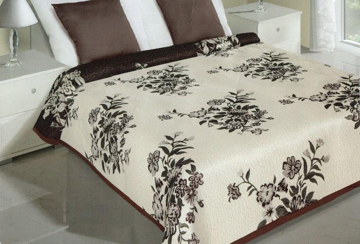 Květinové oboustranné přehozy na postel krémově hnědé barvy