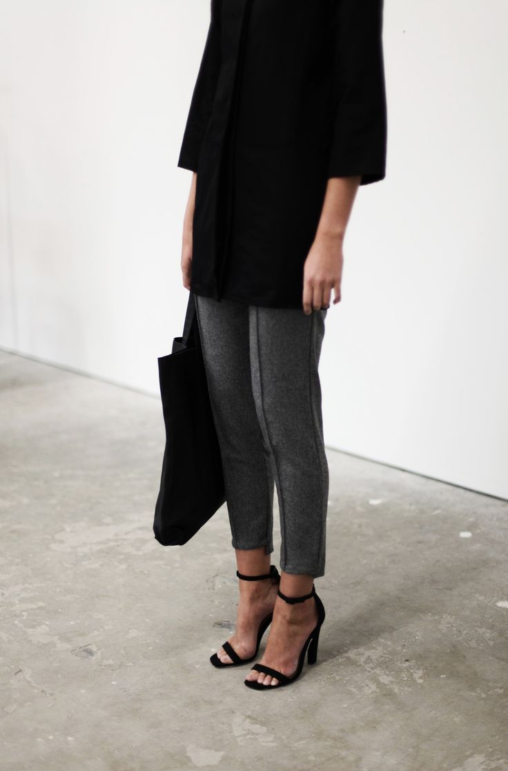 : Shoes, Outfits, Style, Clothing, Strappy Heels, Gray Pants, Black Tops, Minimal Chic, Grey Trousers