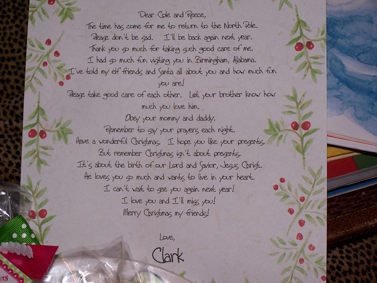 Goodbye letter from our elf, Clark