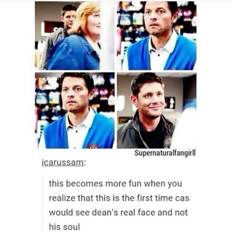 """And here we see Castiel learning the human emotion of """"Holy shit, he's beautiful..."""""""