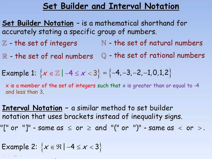 Interval Notation or for Statements Set Builder and
