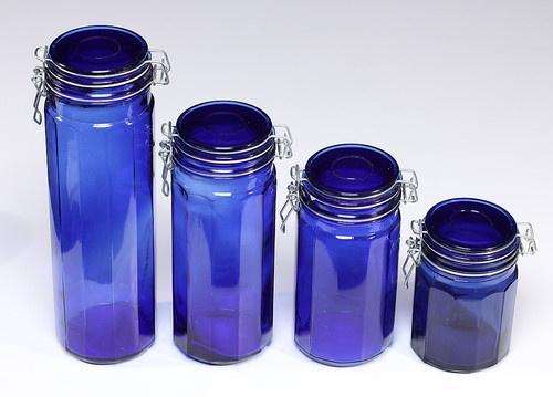 Cobalt Blue Glass Canister Set Of 4 Nos Graduated Szs Air Tight Storage Jars Glass Canister Set Blue Glass Glass Canisters