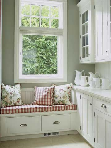 <3.aWall Colors, Kitchens Windows, Kitchens Colors, Decor Ideas, Windows Seats, Design Interiors, Window Seats, White Cabinets, Laundry Room