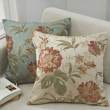 Set Of 2 Traditional Jacquard Polyester Decorative Pillow Cover