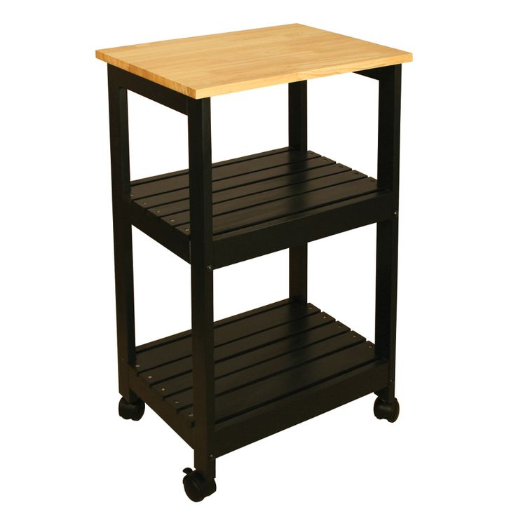 """Catskill Black Kitchen Trolley - 21"""" x 15"""" Top, Lacquered; Slatted Shelves at http://butcherblockco.com"""