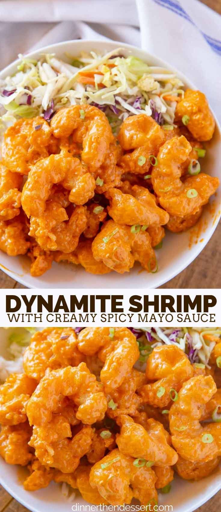 Dynamite Shrimp made with battered fried shrimp coated in a spicy mayo sauce is …