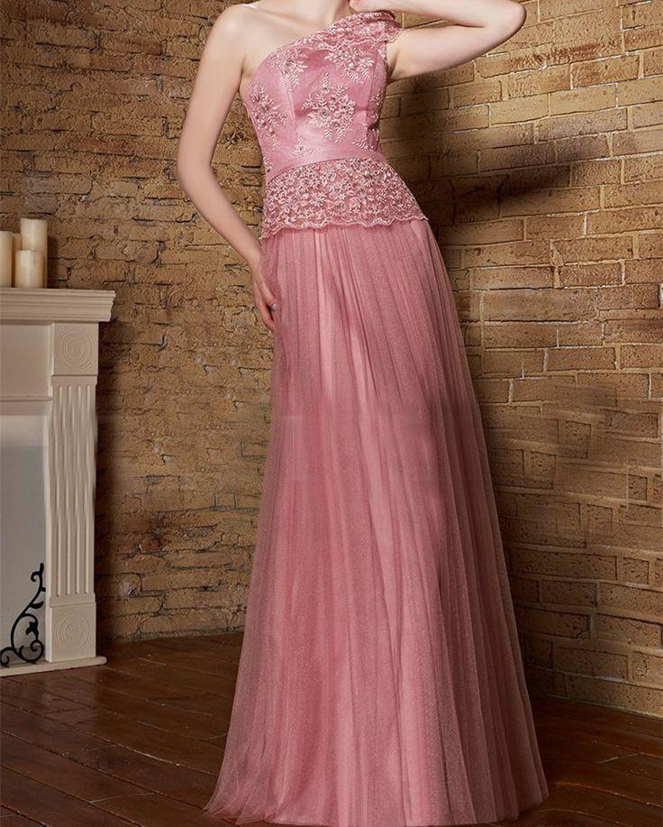 one shoulder blush bridesmaid dresses 2017 formal party pink lace dress elegant  blush pink bridesmaid dresses long for wedding