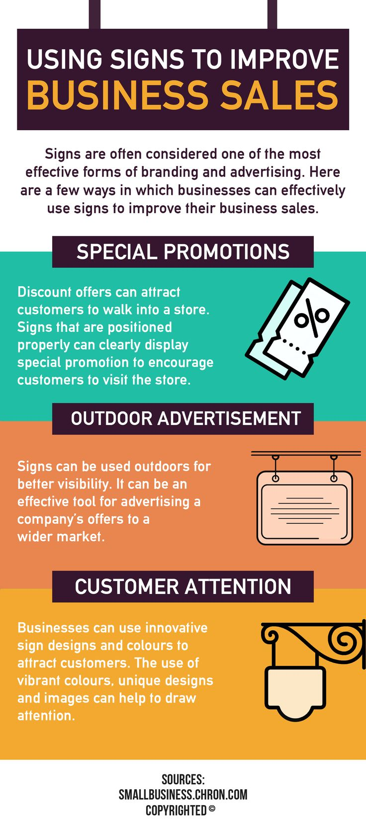 Use of signs can help businesses to increase on their sales because it can promote visibility. Signs that are positioned properly can clearly display special promotion to encourage customers.