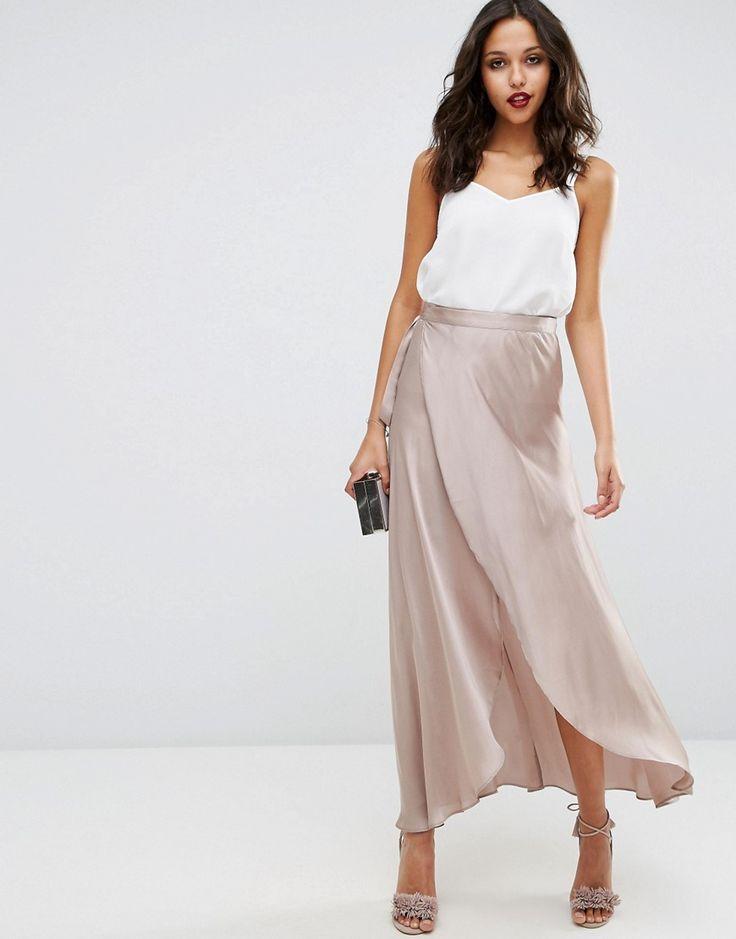Image 1 ofASOS Maxi Wrap Skirt in Satin