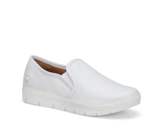 Women's Nurse Mates Adela Slip-On Work Sneaker - White Leather