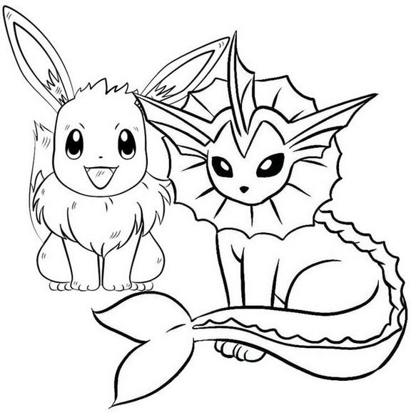 New Evolution of Eevee Coloring Page for Pokemon fans ...
