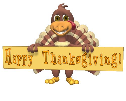GIFs GIF GIFs Animated Animations Animation Images 3D: Turkey Holding Thanksgiving Sign Animated GIF