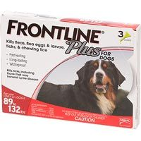 FRONTLINE Plus for Dogs Flea and Tick TreatmentFRONTLINE r Plus for Dogs provides fast, effective and convenient treatment and control of fleas and ticks for dogs and puppies. FRONTLINEr Plus stops and prevents infestations and kills adult fleas, flea eggs, and flea larvae. This effective flea treatment prevents all flea stages (eggs, larvae, pupae) from developing and kills fleas that may cause flea allergy dermatitis. Frontline flea and tick treatment also kills all stages of deer ticks…