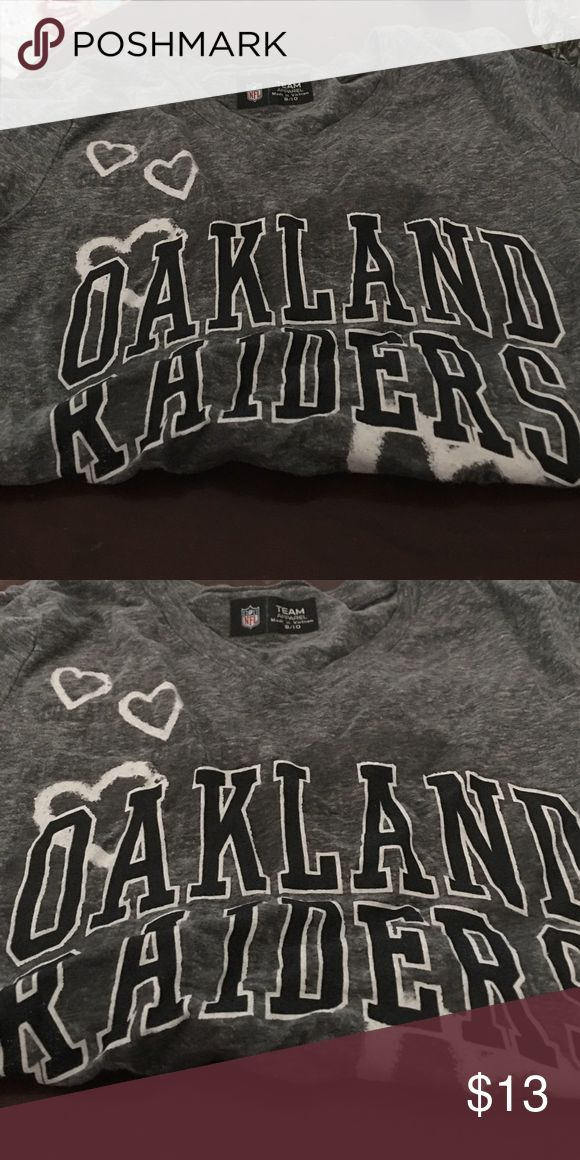 Oakland raiders t shirt for a girl Grey t- shirt oakland raiders 8-10 girl nfl Tops Tees - Short Sleeve