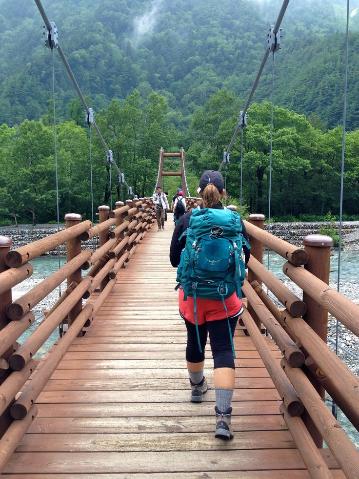 hiking through Kamikochi in the Japanese Alps, the most beautiful national parks in western Japan.