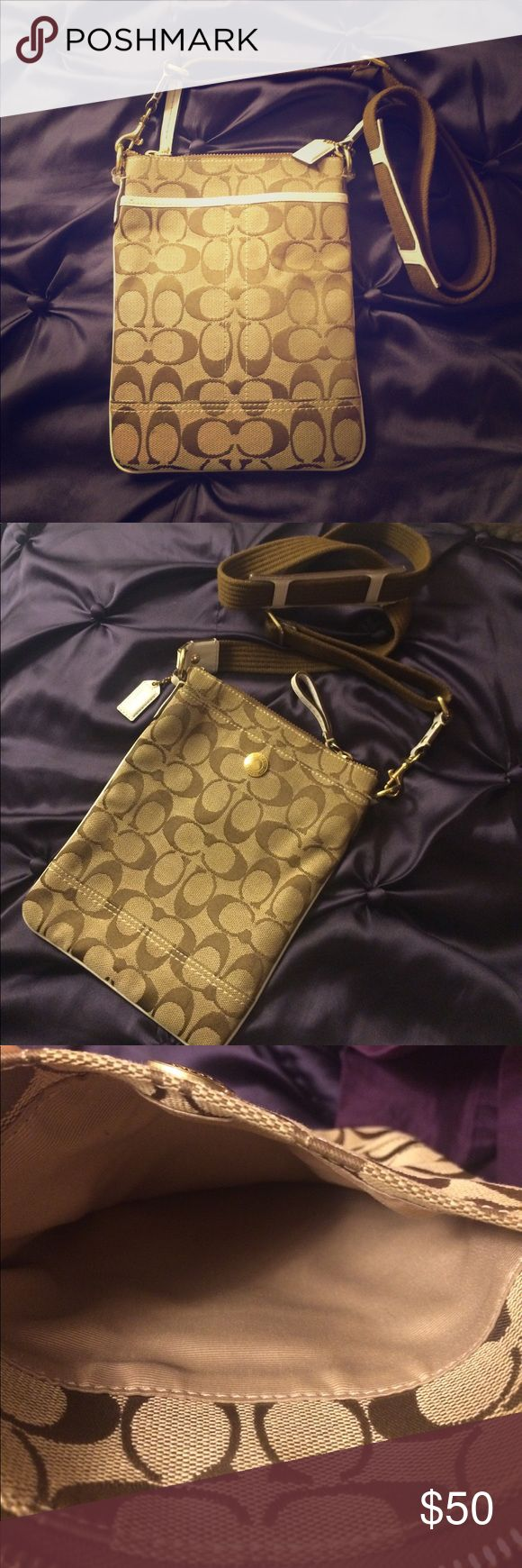Coach Crossbody Purse Beautiful and very clean (like new) crossbody bag with Coach logo. Gold hardware with white leather accents. Perfect for festivals. Coach Bags Crossbody Bags