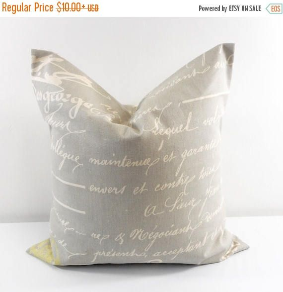 SALE Penmanship Pillow Cover. Reed Natural. Brown Cushion