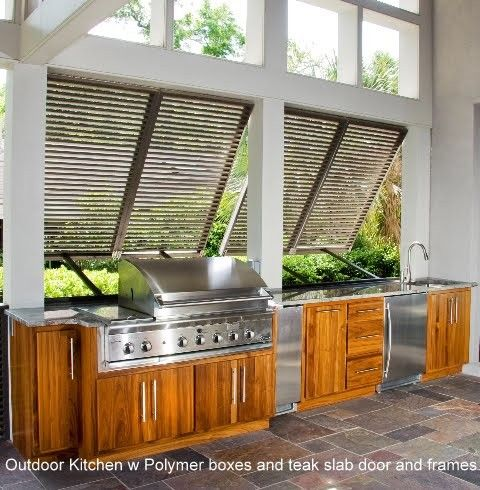 Modern outdoor kitchen with natural wood bases & SS equipment