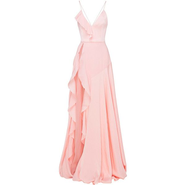 Alex Perry Phoebe Satin Crepe Ruffle Gown ($2,185) ❤ liked on Polyvore featuring dresses, gowns, pink evening dress, pink gown, pink sleeveless dress, pink satin dress and pink dress