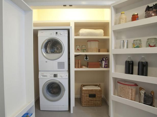 Property Brothers: Stacked washer and dryer for additional storage space. This is