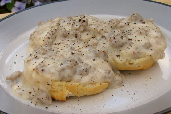Vegan biscuits and soysage gravy