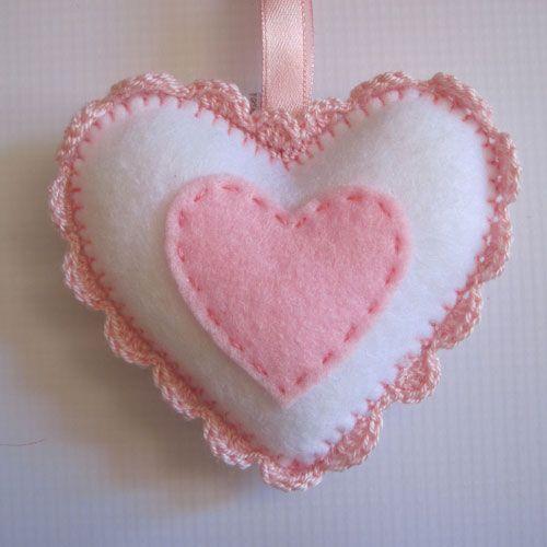 Felt Heart with crochet finishing-Little Wilds