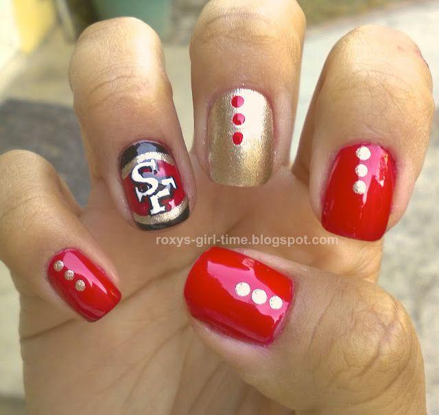 49 er nail art | Roxy's Girl Time: NOTD: SF 49ers Nail Art