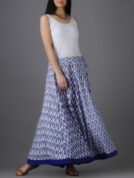 Ivory-Blue Tie-up Waist Ikat Cotton Skirt