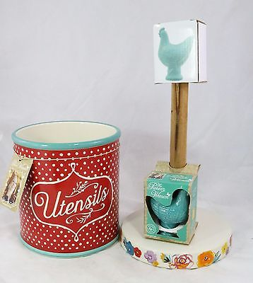 The Pioneer Woman Red & White Polka Dot Utensils, Paper Towel Holder Teal Blue