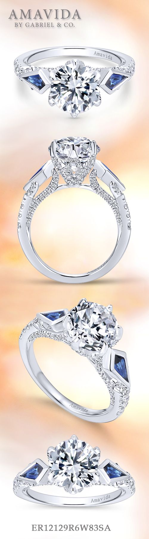 Amavida by Gabriel & Co. - Voted #1 Most Preferred Bridal Brand.   A majestic three (3) stone engagement ring featuring two striking sapphires.