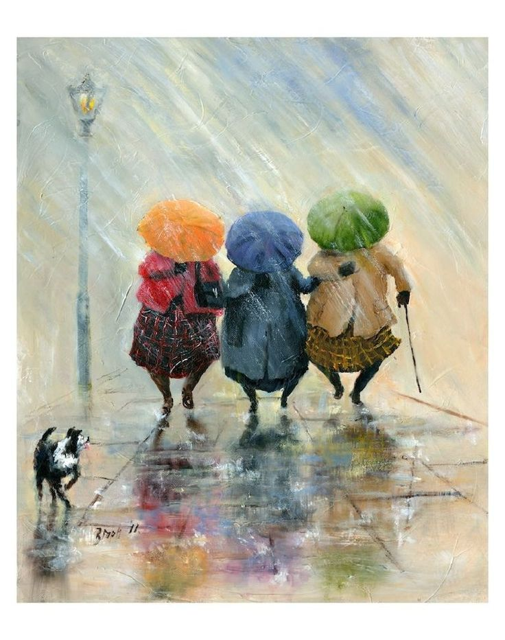 'Dollies And Brollies' Giclee Canvas / Des Brophy
