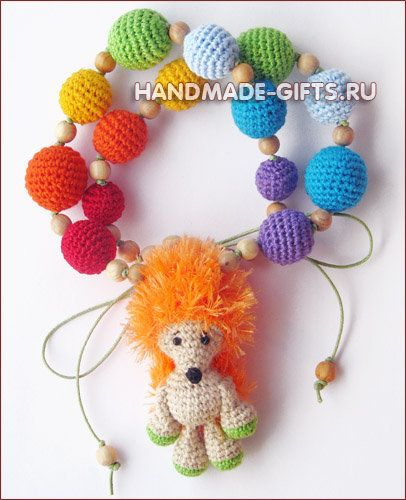 "Nursing necklace ""Rainbow hedgehog"""