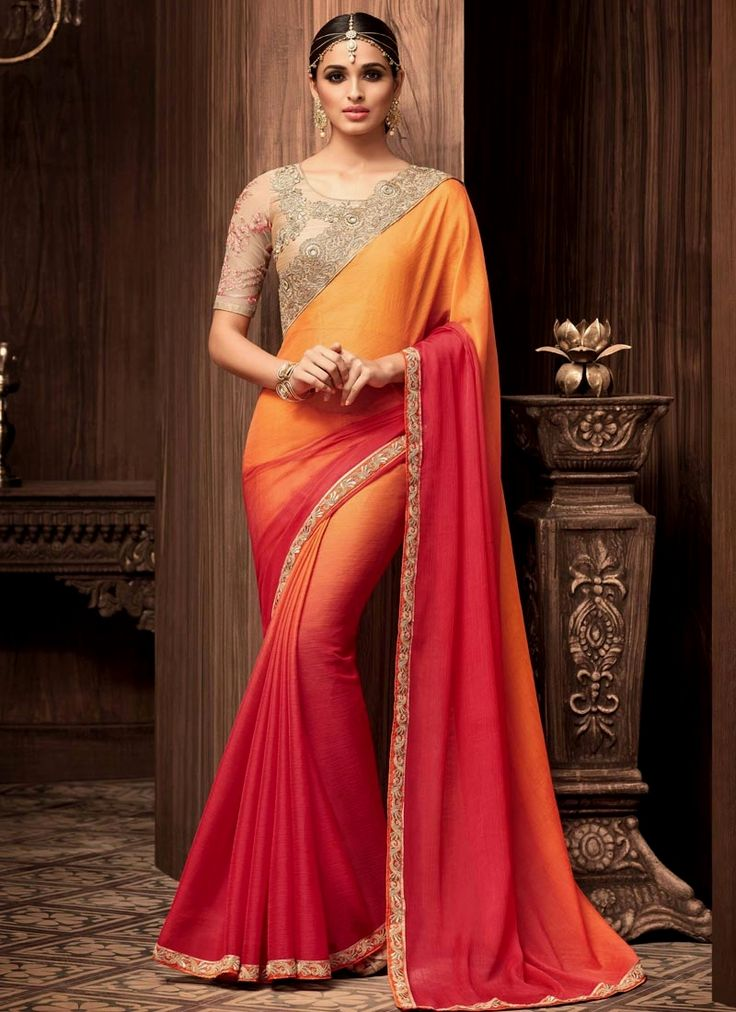 Online saree shopping for wide range of online indian sarees. Buy this elegant embroidered and lace work shaded saree.